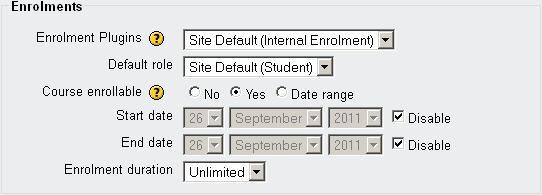 The default Enrolments settings