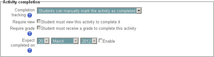 Activity completion settings in an assignment