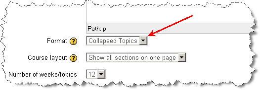 Selecting the Collapsed Topics course format