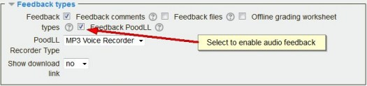 PoodLL assignment feedback setting
