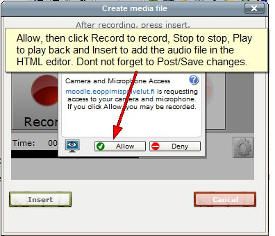 PoodLL MP3 recorder pop-up