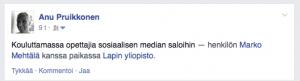 Kuvakaappaus FB-statuksesta