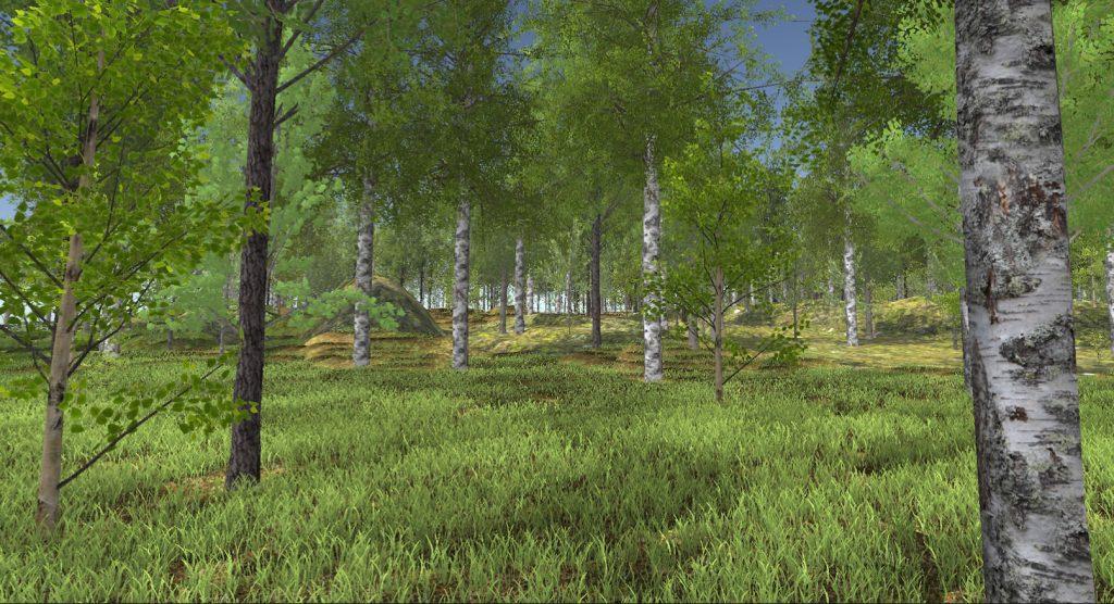 Kuva1: Virtuaalimetsä rakentuu realistisista kasvi- ja puumalleista sekä Hirvaan opetusmetsäalueen topografiasta, tiestöstä ja vesistöistä.