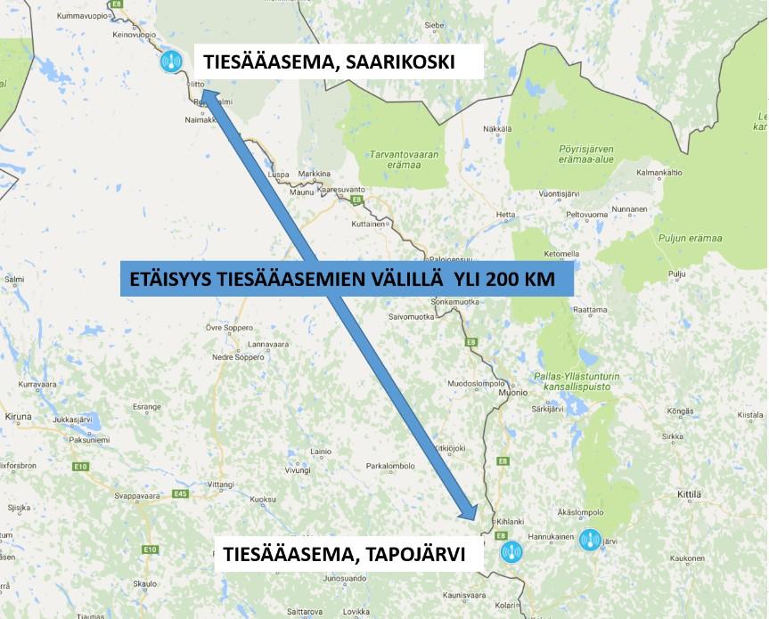 Kuva 1. Etäisyys tiesääasemien välillä E8-tiellä (Valtatie 21) on jopa yli 200 kilometriä.