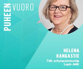 Teksti puheenvuoro ja Helena Kangastien kasvokuva.