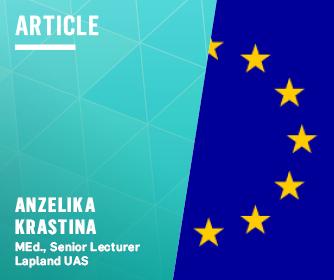 Theme article logo, the writer's name and EU flag.