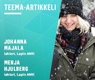 Teema-artikkelin tunnus, jossa nuori nainen lumisateessa.