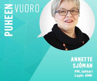 Sana puheenvuoro ja Annette Sjömanin kasvokuva.