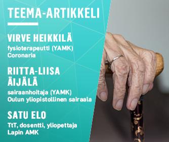 Kirjoittajien tiedot ja kuva vanhuksen kädestä pitelemässä kävelykeppiä.