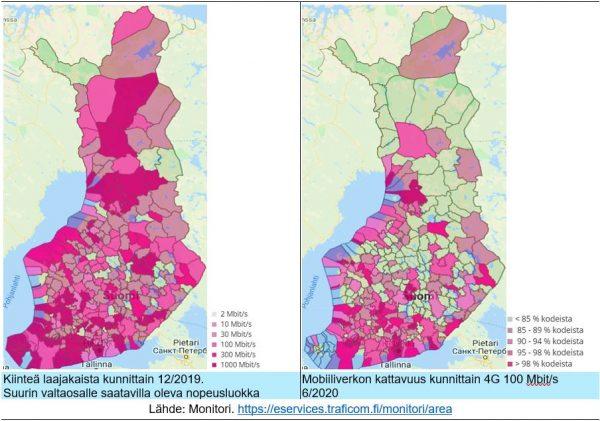 Suomen kartta kahteen kertaan.