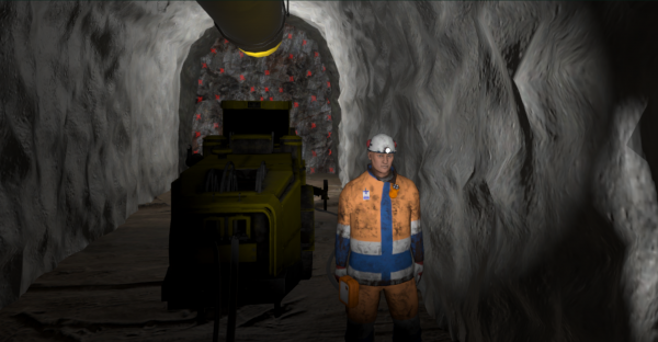 Virtuaalinen ihmishahmo kaivoskäytävässä.