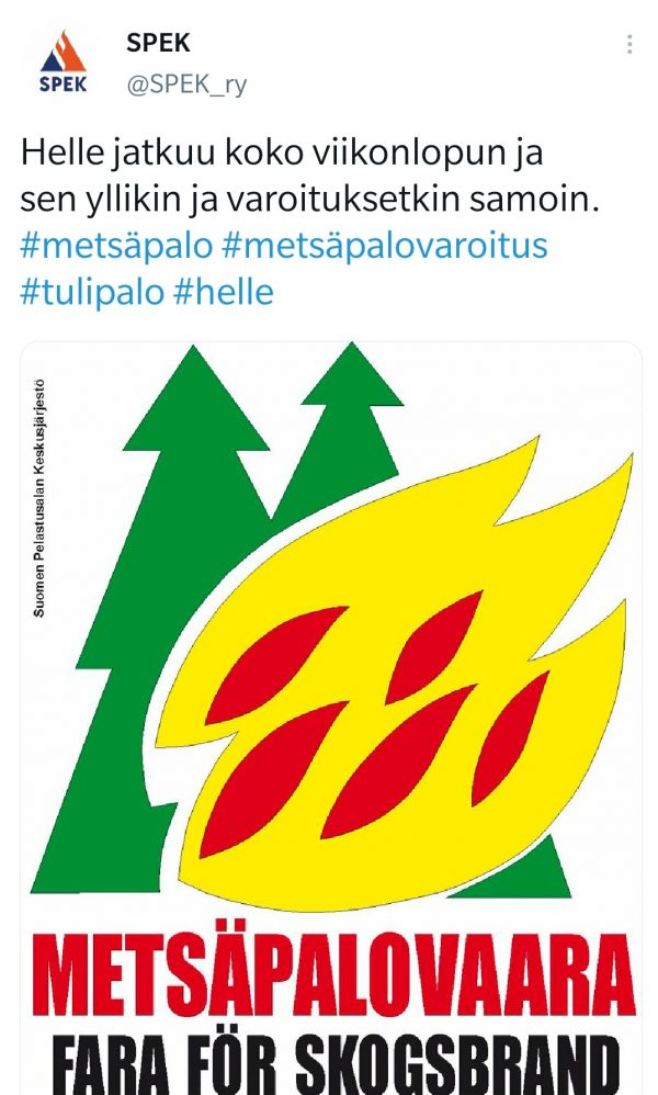 Somepostaus metsäpalovaarajulisteesta.