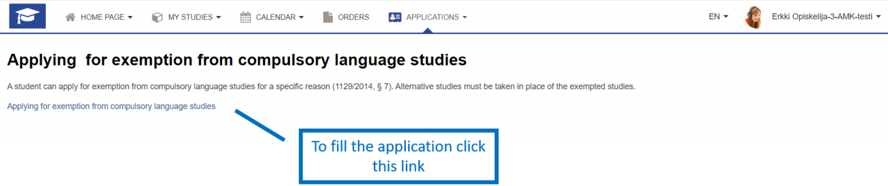 Applying for Exemption from Compulsory Language Studies