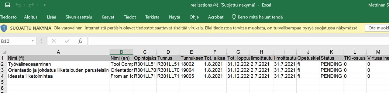 Toteutusten tietojen tarkastaminen Excelissä