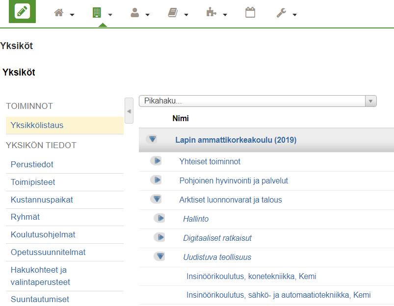 Yksikkö listaus - yksiköiden selaaminen
